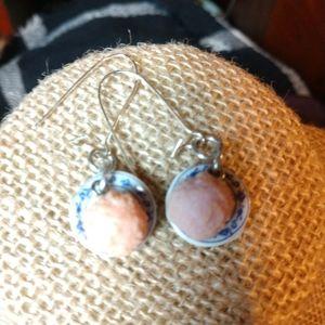 Tiny macaroon plates earrings Victorian hooks OOAK